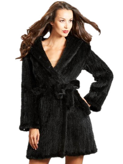 New Top Quality Women Genuine Knitted Mink Fur Coats Natural Fur Jackets Vests Slim Belt Hood Design Fashion Outerwear BF-C0117(China (Mainland))