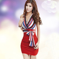 2014 new sexy package hip nightclub KTV temperament fashion straps tight strapless dress large size wild