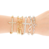 Free Shipping Trendy Gold and Silver Color Cross/World Love/Infinity Charm Stretch Bead Bracelet For Women