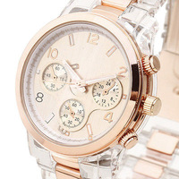 NEW FANCY Women Quartz Wrist Watch Rose Golden Watch Face Crown 3 Hands Resin 1 resin