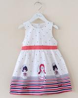 GD031 brief style girls summer dresses cartoon characters girls printed dress blue & pink belt kids fashion wear