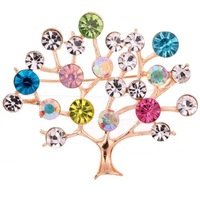 2014 Pretty Jewelry Gold Plated Tree Shape Carve Full Colorful Leaf Rhinestone Brooch Pin Women Free Shipping