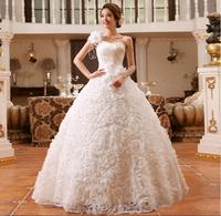 2014 new Design wedding dress Shoulder flower sequins Bandage Satin lace skirt size: S M L XL