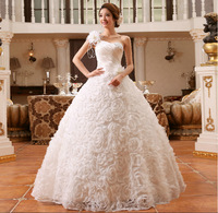 2014 new Design wedding dress Shoulder flower sequins Bandage Satin lace skirt size: S M L XL