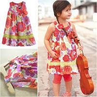100% cotton new 2014 summer little girl dress sleeveless floral dresses children clothing flower girl dresses