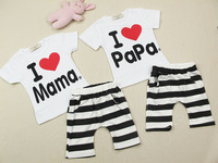 5pcs/lot new 2014 baby&kids Clothing Set ,boys girls I Love Papa and Mama white t-shirt+stripe pants suit kids pajamas set
