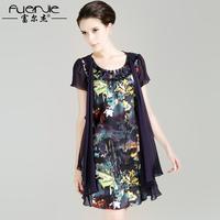 Summer 2013 quinquagenarian women's silk one-piece dress plus size one-piece dress