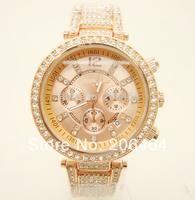 Lady dress watch Mnichael watch, fashion rhinestone watch, 1pc/lot Free Shipping high quality popular watch--Rose Gold