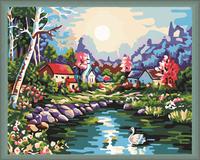 Free shipping menglei 40*50 DIY Swan Lake Painting By Numbers