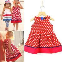 100% cotton baby girl cotton dress 2014 summer girl dress designs long dresses for kids 2-7 years dot girl dresses