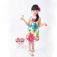 floral girl dress oil painting girl summer dresses new fashion summer 2014 100% cotton  floral dresses children clothing dresses