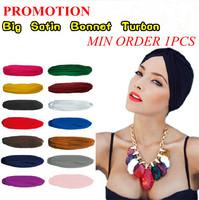 Indian Folk Elastic Skullies & Beanies Bandanas Yoga Casual Fashion Hat Big Satin Turban Bonnet Promotion Drop Shipping