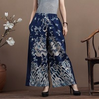 2014 spring and summer trend women's national fluid dragon print straight pants long trousers high waist casual pants female