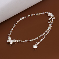 Free shipping!New Fashion 925 Sterling Silver Charm Anklet For Women Qulity Couples Jewelry Gift CA008