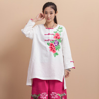Spring and autumn 2014 fluid national trend women's o-neck embroidery flower long-sleeve medium-long unlined women's top