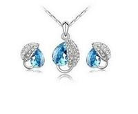 Fashion rhinestone crystal jewelry - Acacia leaf earring necklace set wholesale Leaf Sets For Wedding