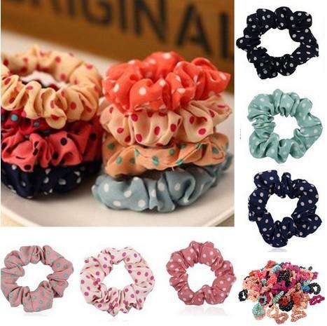 Wholesale 10pcs Womens Hot Multicolor Polka Dot Print Hair Band Rope Scrunchie Ponytail Holder Hair jewelry Fashion(China (Mainland))