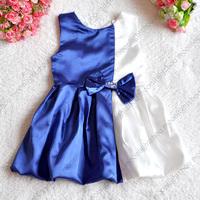 Retail - 2014 baby clothing royal blue / teal + white splice diamond bow sleeveless lantern kids party girls dress lxm 003 L- 3