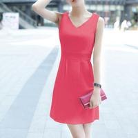 DR1747 Korea fashion ladies' summer v-neck cultivate one's morality joker render DRESS