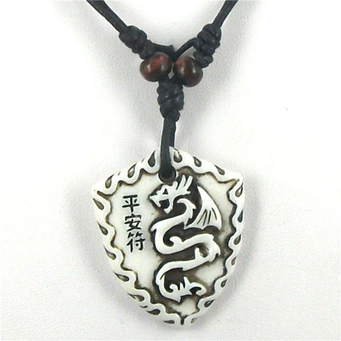 Tibetan white Yak bone carving Dragon totem pendant supporter talismans necklace Jewelry free shipping(China (Mainland))