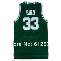 Free Shipping 33 Bird Green color men  sleeveless Basketball jerseys made of Lycra and Spandex Basketball jersey