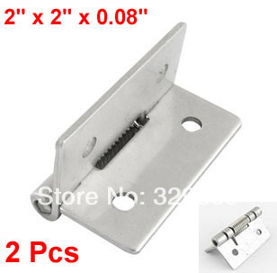 Silver Tone Metal 50mm x 50mm x 2mm Spring Loaded Self Opening Hinges(China (Mainland))