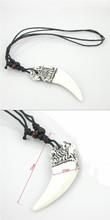 1pcs Tibetan white Yak bone carving Crescent Eagle totem pendant necklace Jewelry free shipping