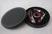 Red wine tools bar bottle opener set piece set circle leather box round leather box commercial gift
