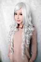 90cm Long Curly Women Ladies Silvery White New Fashion Synthetic hair Cosplay Wig
