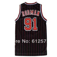 Free Shipping 91 Rodman Black color men sleeveless Basketball jerseys made of Lycra and Spandex Basketball jersey
