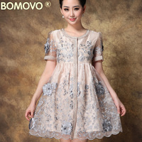 Bomovo2014 high quality embroidery flower one-piece dress elegant organza elegant middle-age women skirt