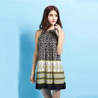 Bohemia   spaghetti strap beach skirt    plus size sexy print vintage novelty dress dots stripe plaid