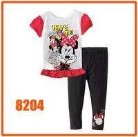 Girls Minnie Mouse Pijamas Kids Autumn -Summer Pajamas Sets New 2014 Wholesale Children Cartoon Clothing Set 8204
