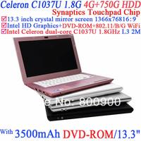 13.3 inch windows laptop Computers with 1366x768 16:9 enjoyment with Intel Dual Core Celeron C1037U 1.8Ghz 4G RAM 750G HDD