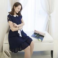 Korean Style Large Size Women Summer Solid Color 2015 Peter Pan Collar Sweep Multi-layer i1080 Dress XL-XXL-XXXL-XXXXL