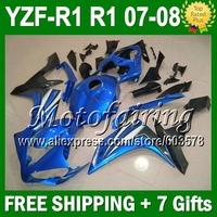 7gifts Custom For YAMAYA 07-08 YZFR1 YZF R1 blue black YZF-R1 07 08 JM1021075 YZF 1000 Blue grey black YZF1000 2007 2008 Fairing