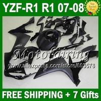 7gifts all black Custom For YAMAYA 07-08 YZFR1 YZF R1 YZF-R1 07 08 JM1021065 flat gloss black YZF 1000 YZF1000 2007 2008 Fairing