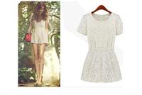 Summer shorts 2014 summer british style high waist short culottes lace short-sleeve jumpsuit culottes