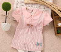 Free shipping !3 colors Hot Summer New Korean Leisure Cute Bear Dot  Lapel Cotton Short sleeve Dress  for girls 2014