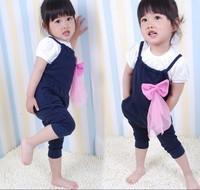 2014 New Girls Cotton Overalls Hot Bib Fashion Bow Harem Overalls LG5385CH