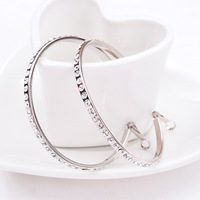 New 2014 Fashion Big Hoop Earrings For Women High Quality Crystal Earrings 18K White Gold Plated