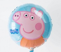 New 2014 peppa pig Foil Balloon Birthday Party Decoration Cartoon Balloons Baby Toys Free Shipping Brazil Large 18inch