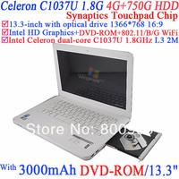 Wholesale netbooks laptop 13.3 Inch with DVD-ROM Intel Dual Core Celeron C1037U 1.8Ghz Ivy Bridge 802.11/B/G 4G RAM 750G HDD