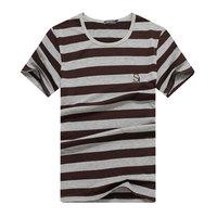 Free shipping Men's Tide brand personality Korean striped T-shirt M-XXL