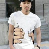Free shipping Men's Summer grasping personalized T-shirt Men  M-XXL