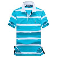 Paul men's clothing t male short-sleeve 2014 stripe turn-down collar 100% cotton male short-sleeve T-shirt short-sleeve