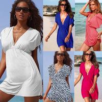 women Classic Swimsuit Cover-ups Tunic Flutter-sleeve Sexy deep V-neck Beach Dress elastic ice silk material Bikini dresses