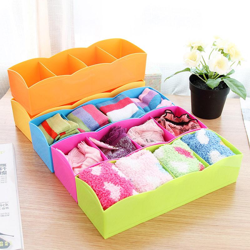 Gaveta caixa de armazenamento caixa de armazenamento de desktop meias cueca plástica colorida multifuncional caixa de acabamento(China (Mainland))