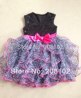 2014 Kids Girls Dress cute leopard  color sleeveless princess dress w Bow circle Korean Fashion Black children's clothing New