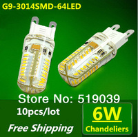 High Quanlity!! 10X G9 3014SMD 64LEDs LED Corn Crystal Chandelier Lamp 6W White/Warm White AC 220V Free Shipping